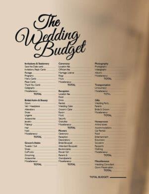 The Wedding Budget FB0438