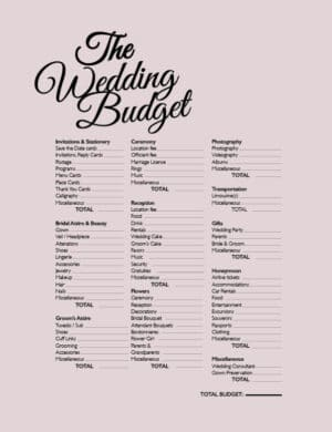 The Wedding Budget FB0536