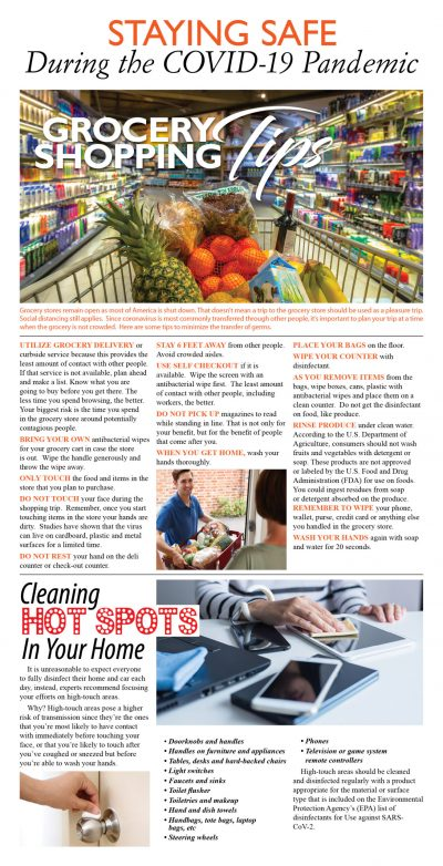 Staying Safe During COVID-19 grocery tips newspaper broadsheet image